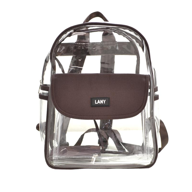 LANY Unisex Classic Clear Small Backpack with coin purse Brown