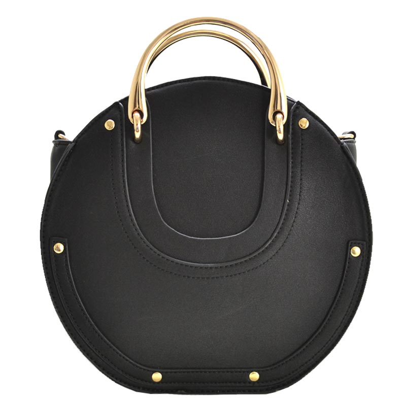 Fashion Top Handle Round Satchel Black