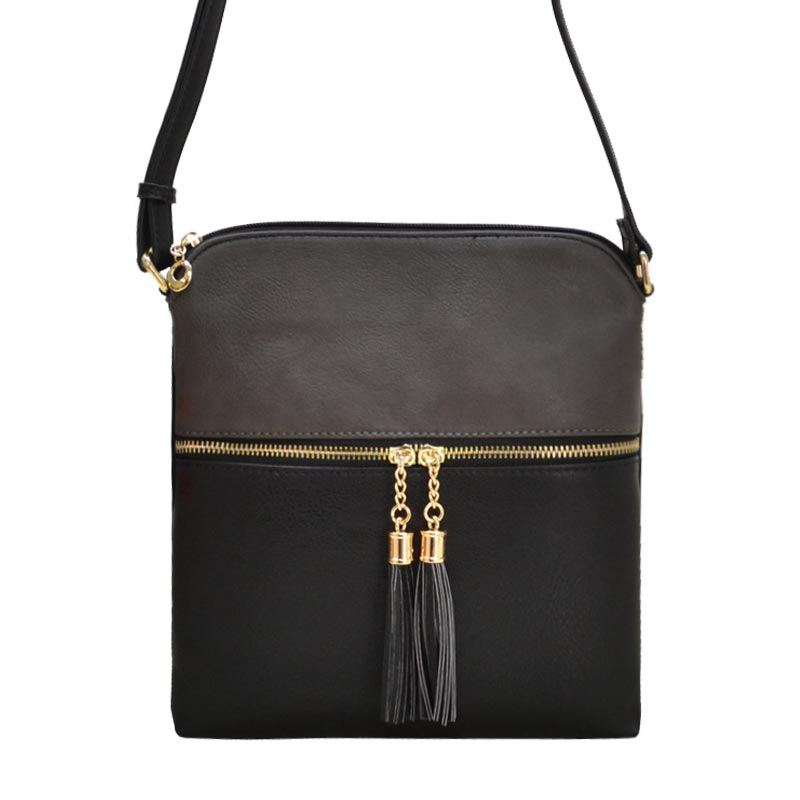 Tassel Accent Messenger Charcoal/Black