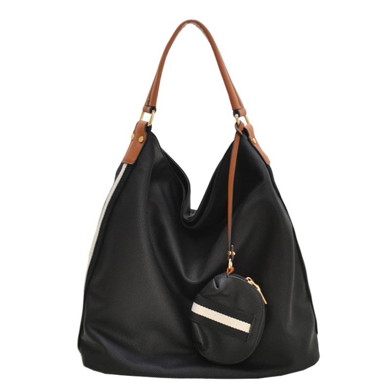 Stripe Accent Fabric Textured Vegan Leather Hobo Black