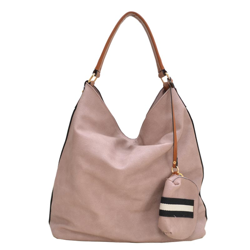 Stripe Accent Fabric Textured Vegan Leather Hobo Blush