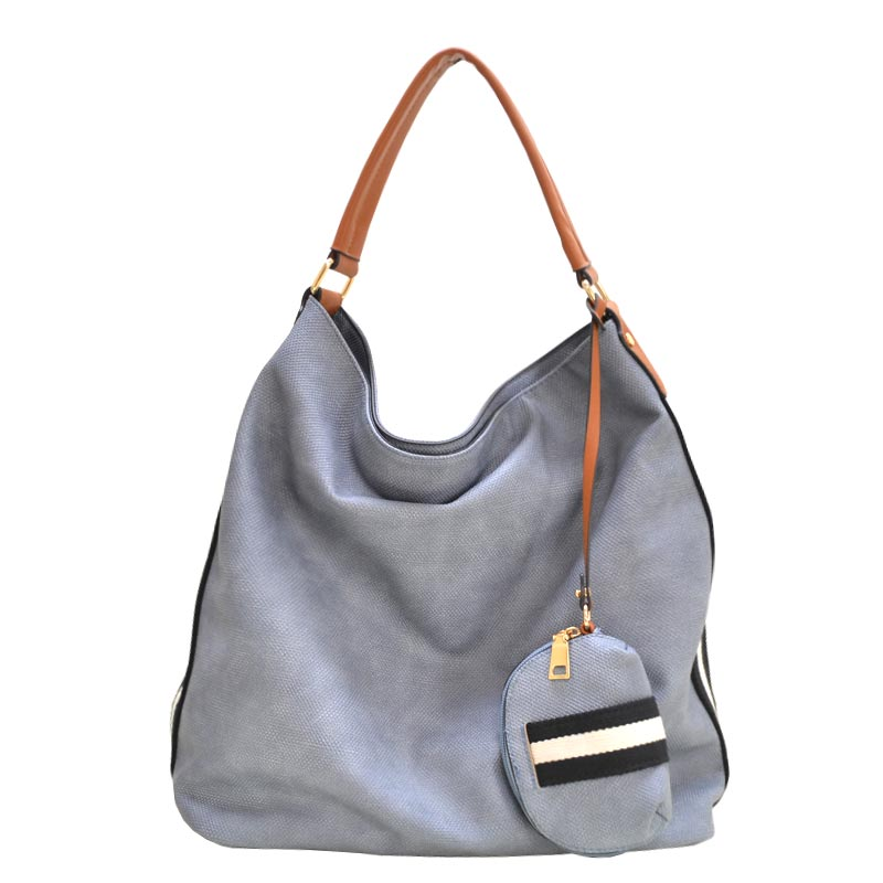 Stripe Accent Fabric Textured Vegan Leather Hobo DENIM
