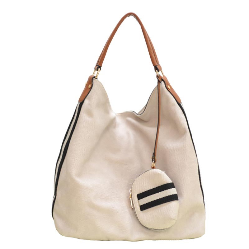 Stripe Accent Fabric Textured Vegan Leather Hobo Grey