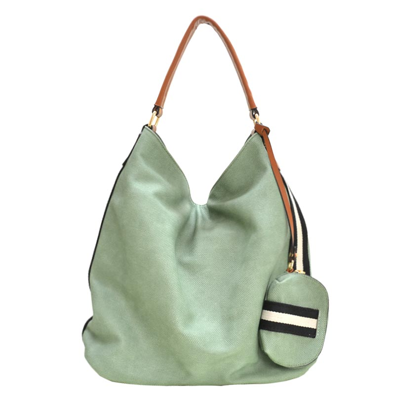 Stripe Accent Fabric Textured Vegan Leather Hobo Olive