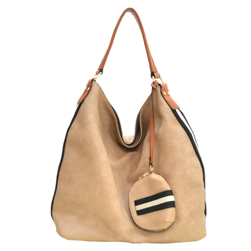 Stripe Accent Fabric Textured Vegan Leather Hobo Stone