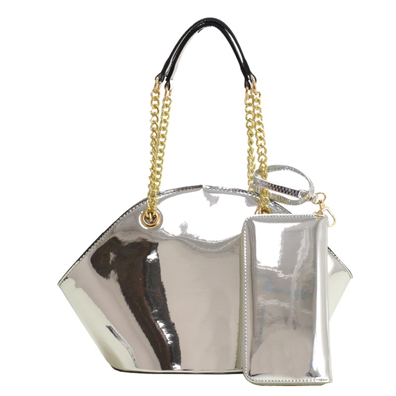 Enamel Fashion Hand Bag with Wallet Silver