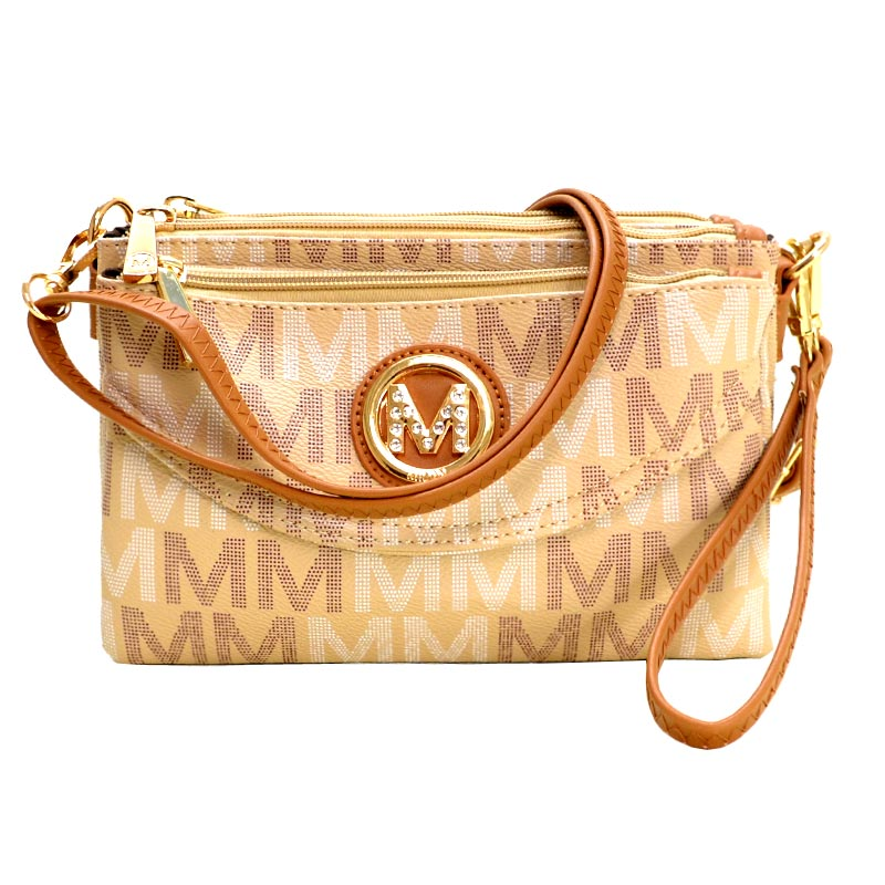 Five Compartments M Signature Crossbody Beige