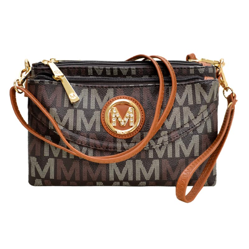 Five Compartments M Signature Crossbody Brown
