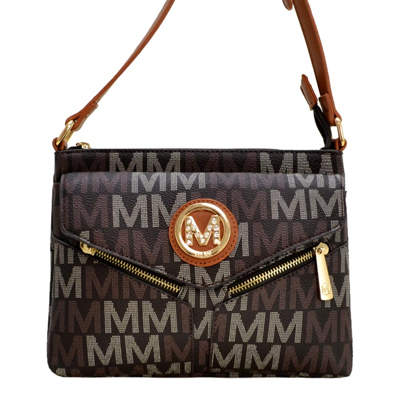 Nathy Milan M Signature Crossbody Brown