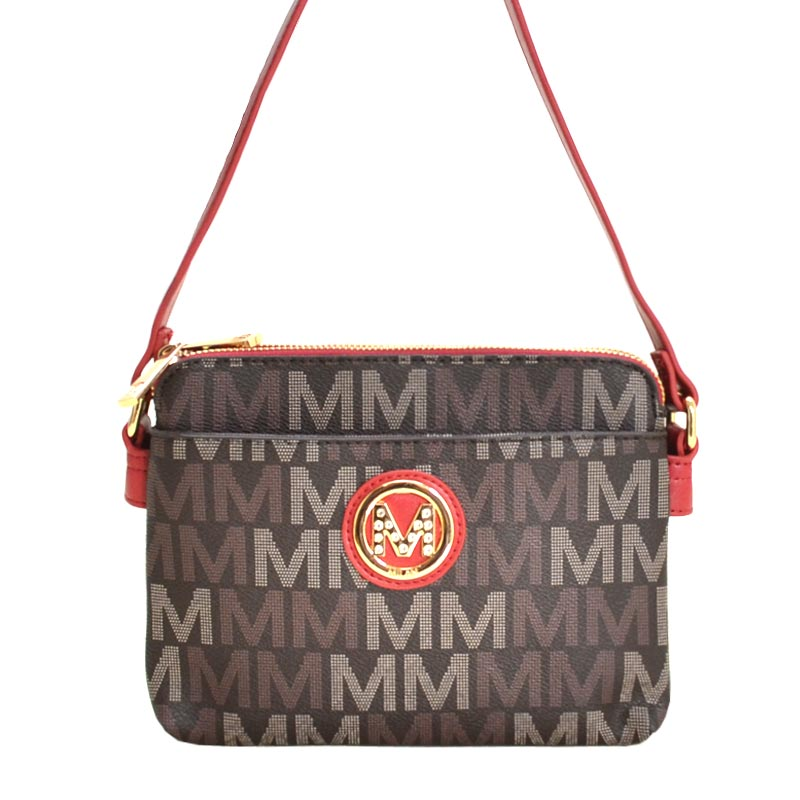 Milan M Signature Crossbody Double Pocket Bag Red