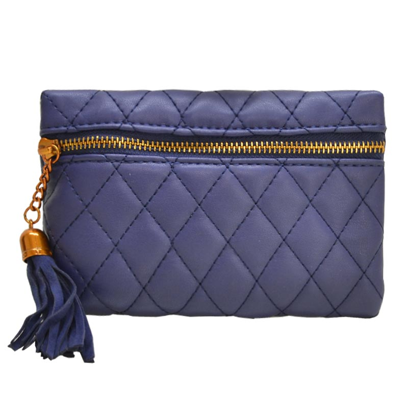Antique Gold Quilted Fanny Pack Blue