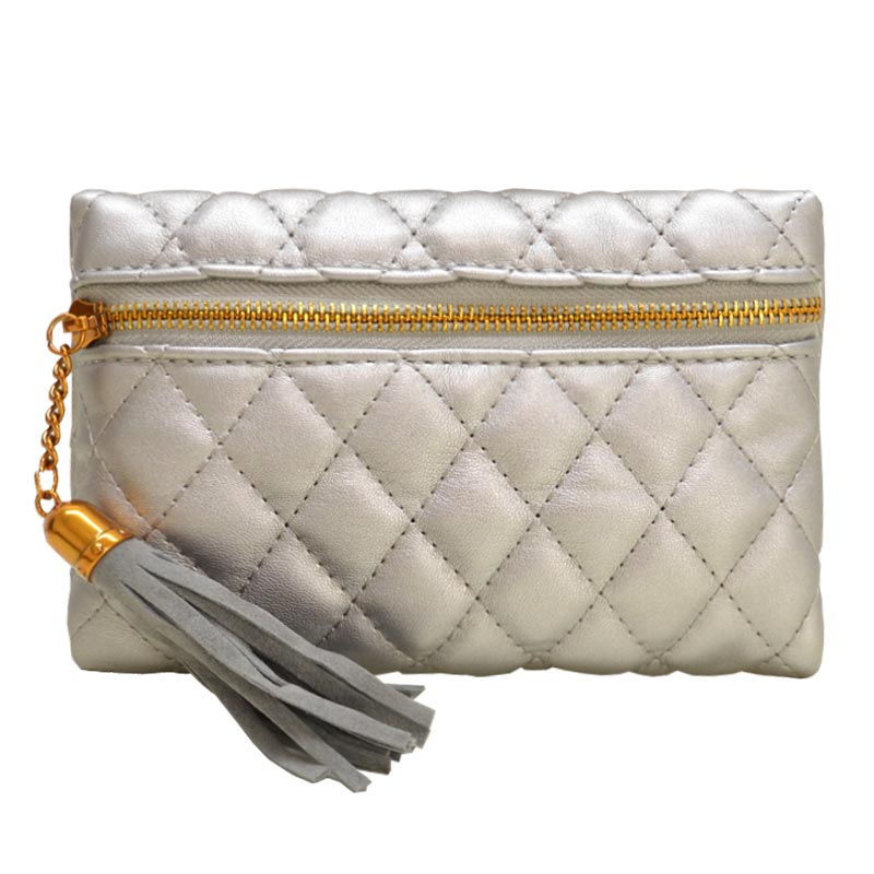 Antique Gold Quilted Fanny Pack Pewter