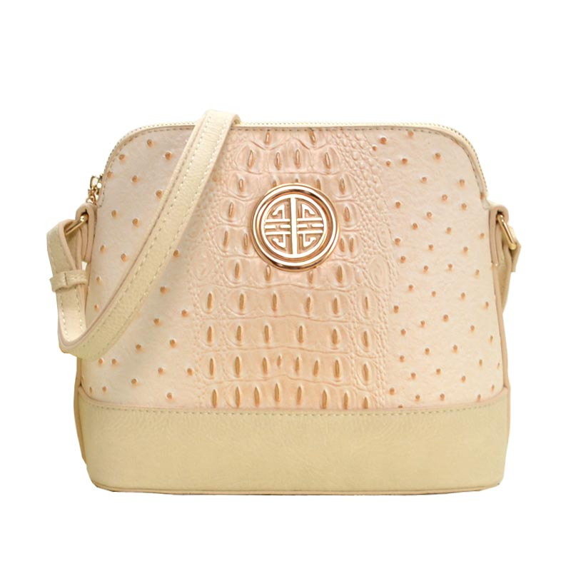 Ostrich Embossed Emblem Dome-shaped Cross Body Beige
