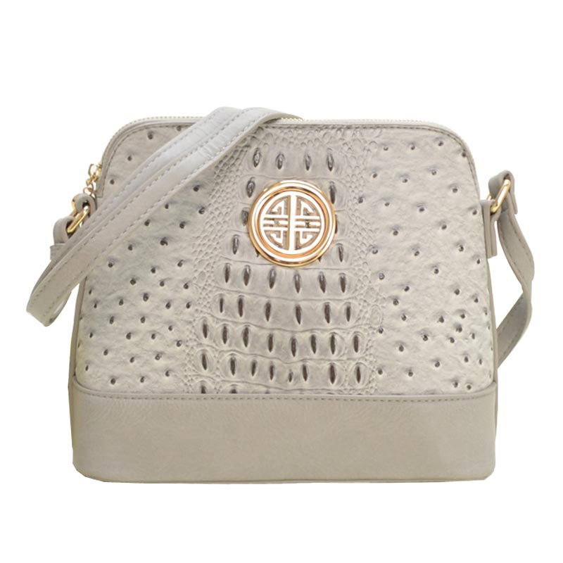 Ostrich Embossed Emblem Dome-shaped Cross Body Grey