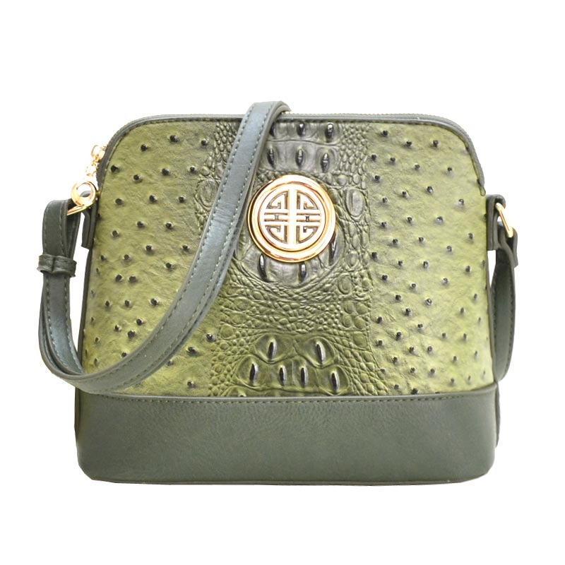 Ostrich Embossed Emblem Dome-shaped Cross Body Light Olive