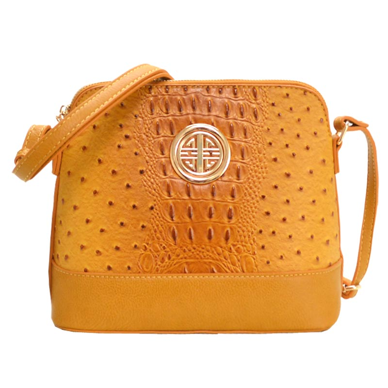 Ostrich Embossed Emblem Dome-shaped Cross Body Mustard