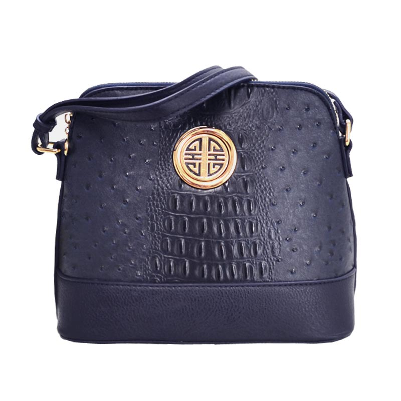 Ostrich Embossed Emblem Dome-shaped Cross Body Navy