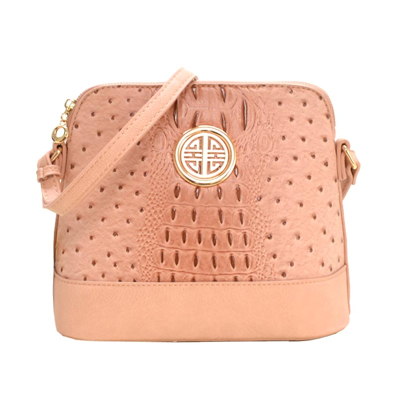 Ostrich Embossed Emblem Dome-shaped Cross Body Pink