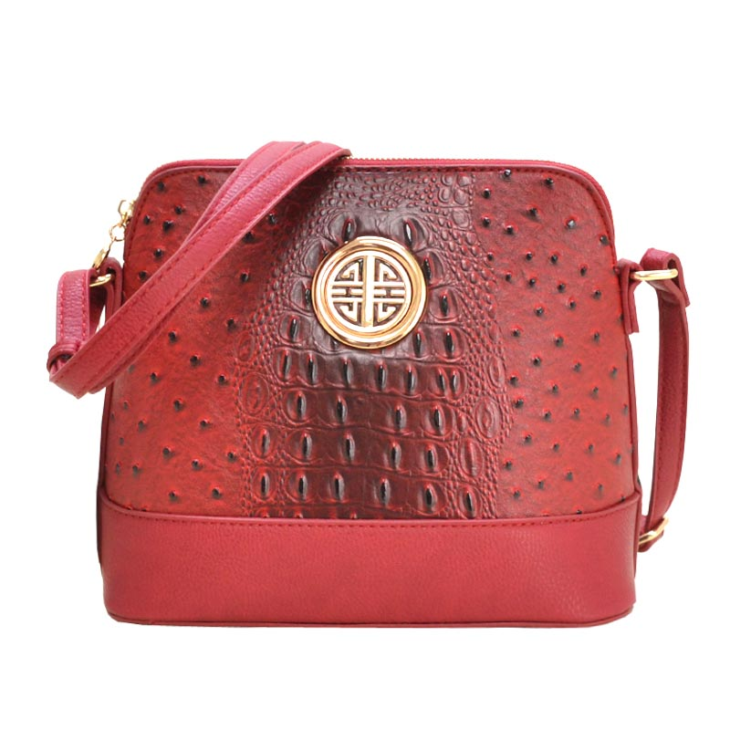 Ostrich Embossed Emblem Dome-shaped Cross Body Red