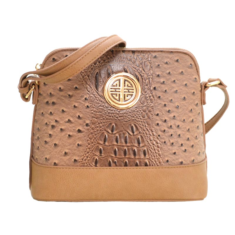 Ostrich Embossed Emblem Dome-shaped Cross Body Stone