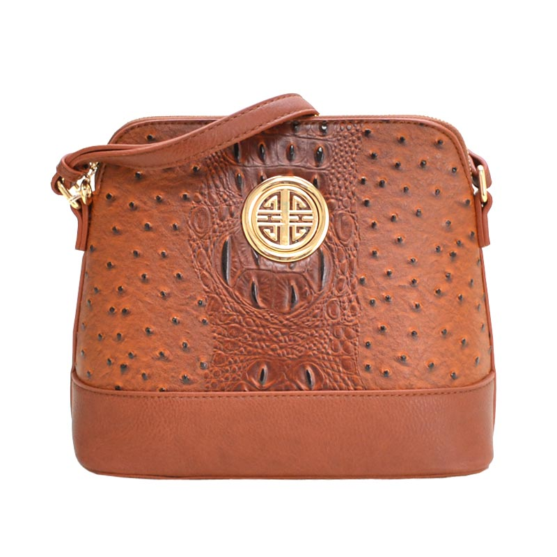 Ostrich Embossed Emblem Dome-shaped Cross Body TAN