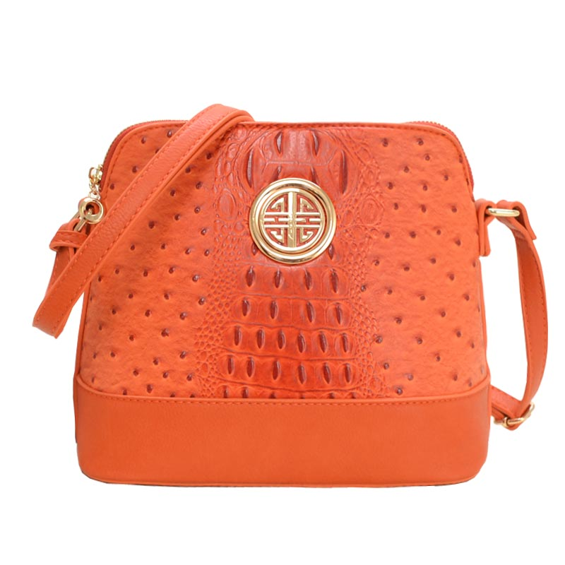 Ostrich Embossed Emblem Dome-shaped Cross Body Tangrine