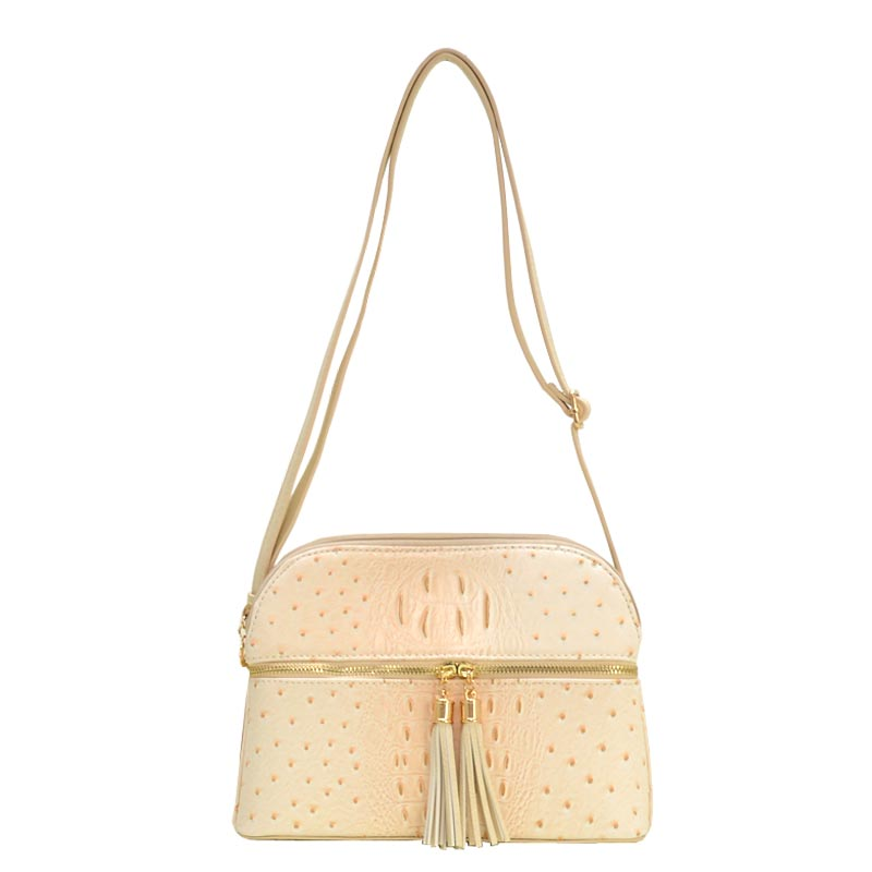 Ostrich Embossed Multi Compartrment Cross Body Beige