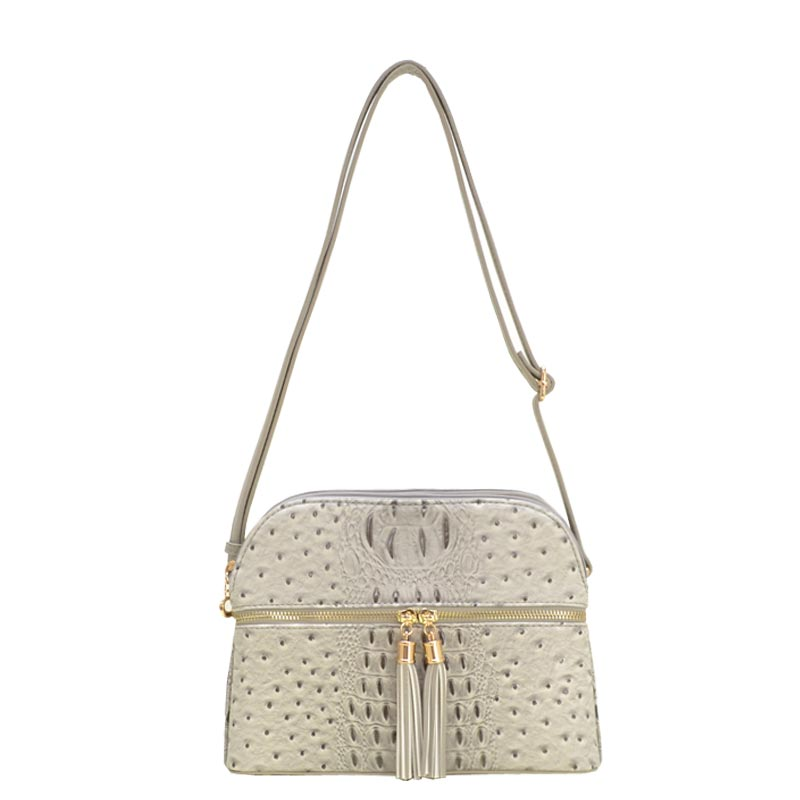 Ostrich Embossed Multi Compartrment Cross Body Grey