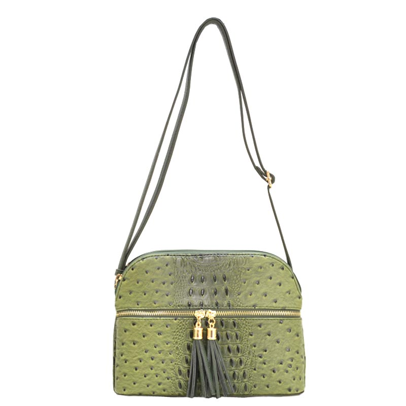 Ostrich Embossed Multi Compartrment Cross Body Light Olive