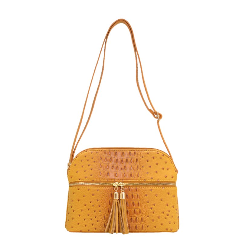 Ostrich Embossed Multi Compartrment Cross Body Mustard