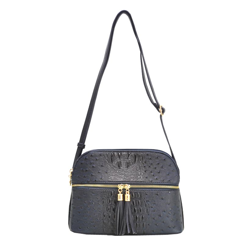 Ostrich Embossed Multi Compartrment Cross Body Navy