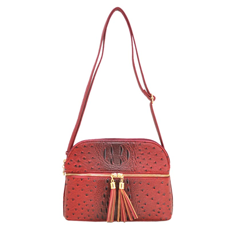 Ostrich Embossed Multi Compartrment Cross Body Red