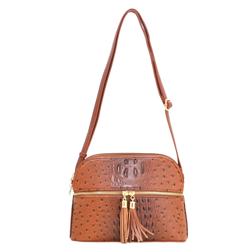 Ostrich Embossed Multi Compartrment Cross Body TAN