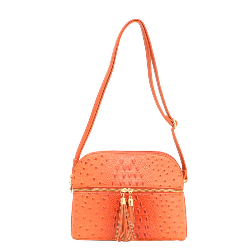 Ostrich Embossed Multi Compartrment Cross Body TANGRINE