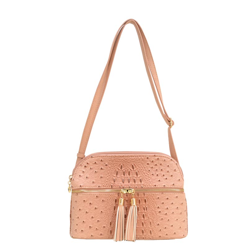 Ostrich Embossed Multi Compartrment Cross Body Pink