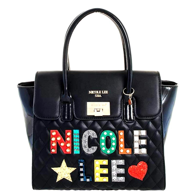 NICOLE LEE STITCHED CLASSY SATCHEL Black