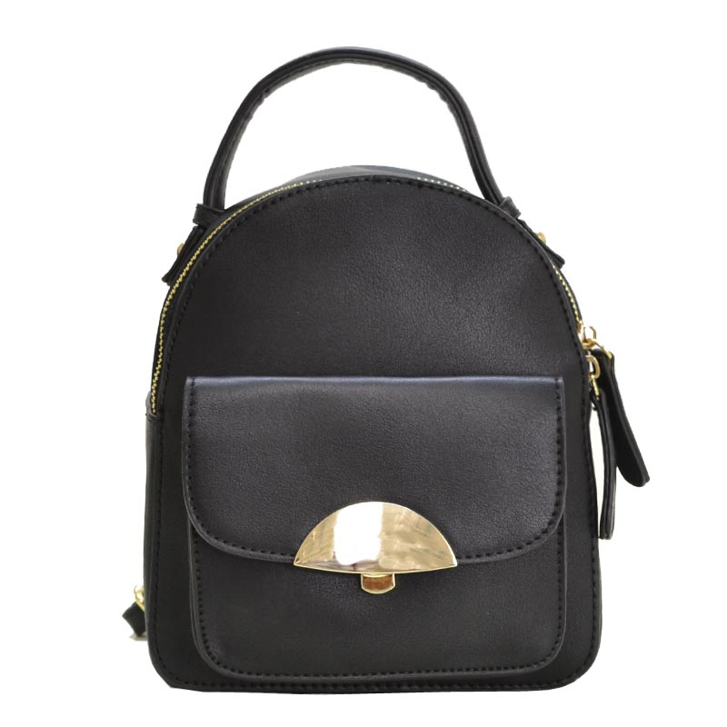 Hardware Accent Cute Mini Backpack Black