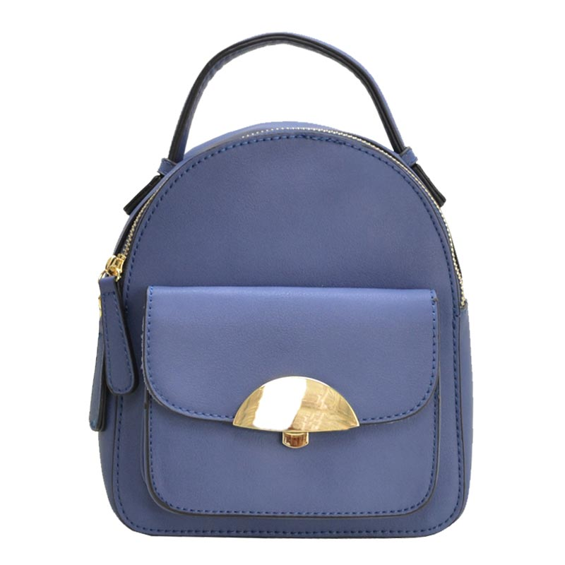 Hardware Accent Cute Mini Backpack Blue