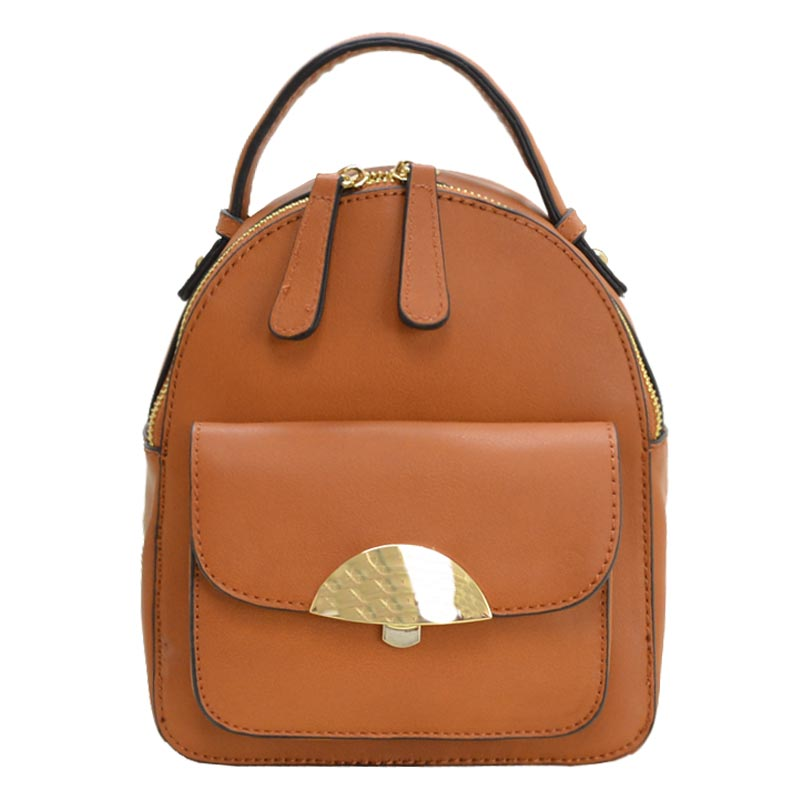 Hardware Accent Cute Mini Backpack Brown