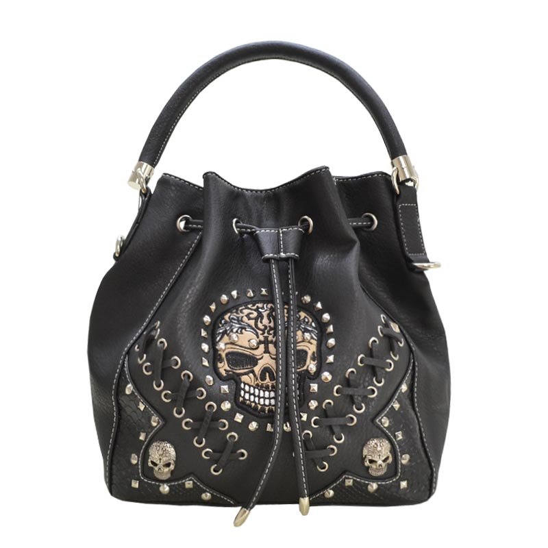 'Cowgirl Trendy' Sugar Skull Bucket Bag Black