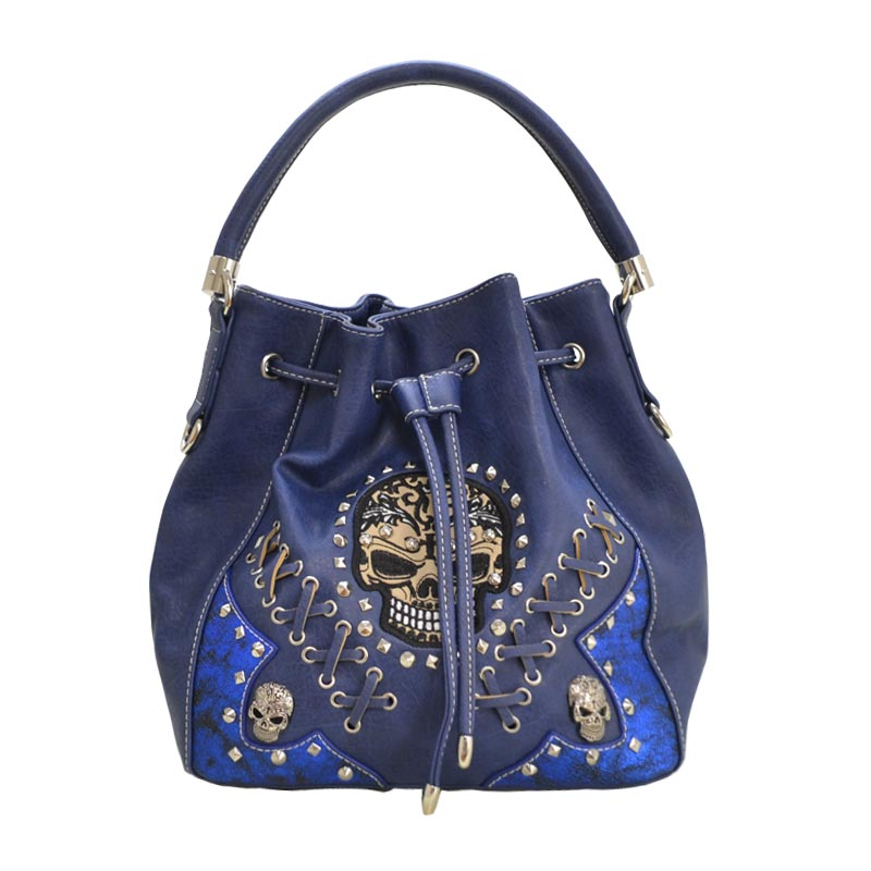 'Cowgirl Trendy' Sugar Skull Bucket Bag Blue