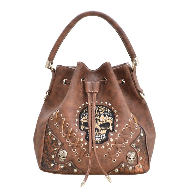 'Cowgirl Trendy' Sugar Skull Bucket Bag Brown
