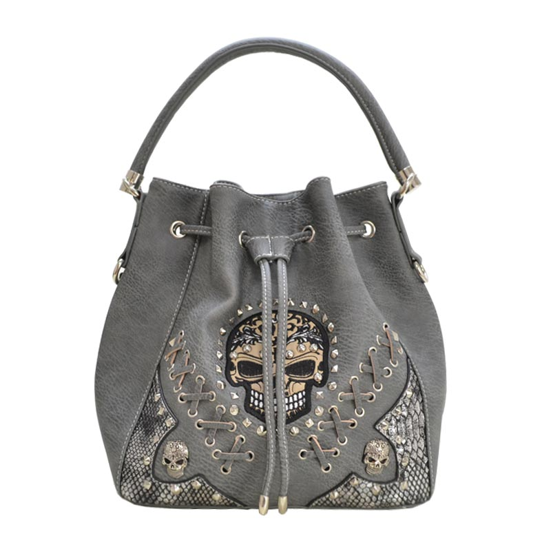 'Cowgirl Trendy' Sugar Skull Bucket Bag Grey