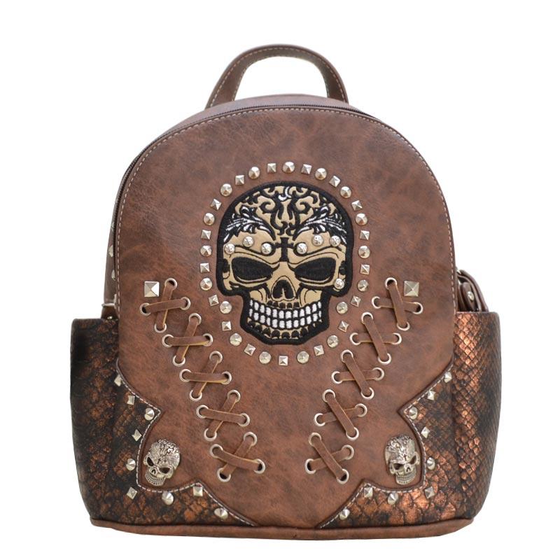908f33f3e337 Biker Skull backpack Brown