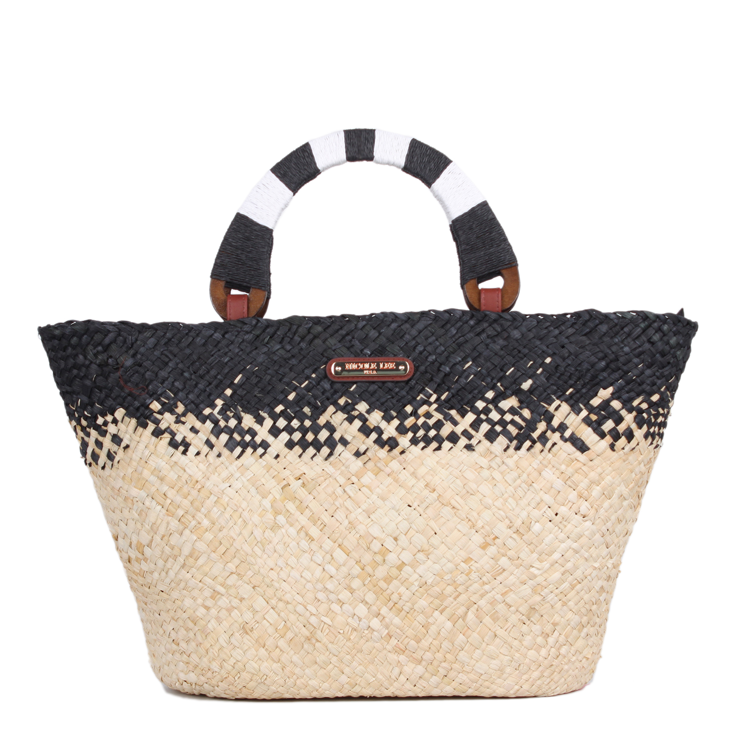 Nicole Lee Straw Wooden Top Handle Tote Black