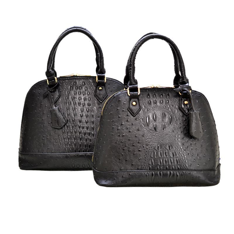 Ostrich Embossed 2 in 1 Twin Dome Satchel Black