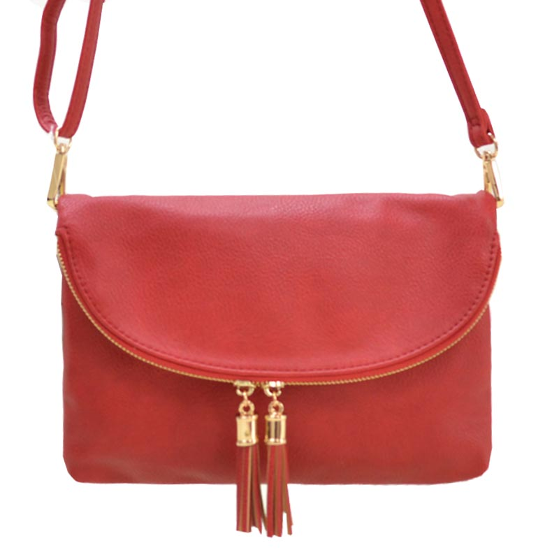Fashion Faux Leather Messenger Clutch Bag Red