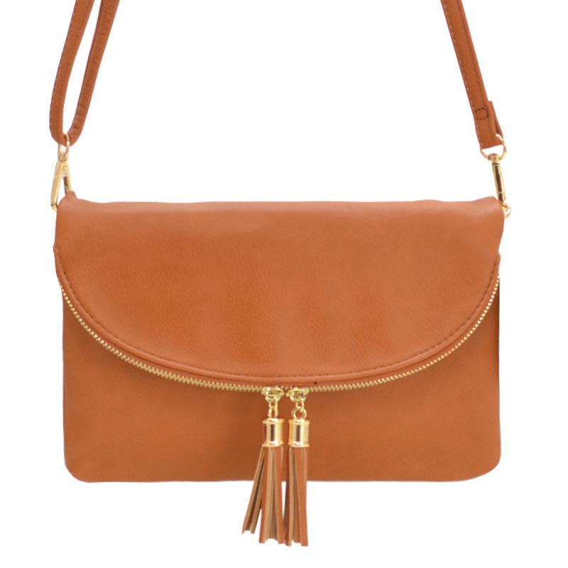 Fashion Faux Leather Messenger Clutch Bag Tan