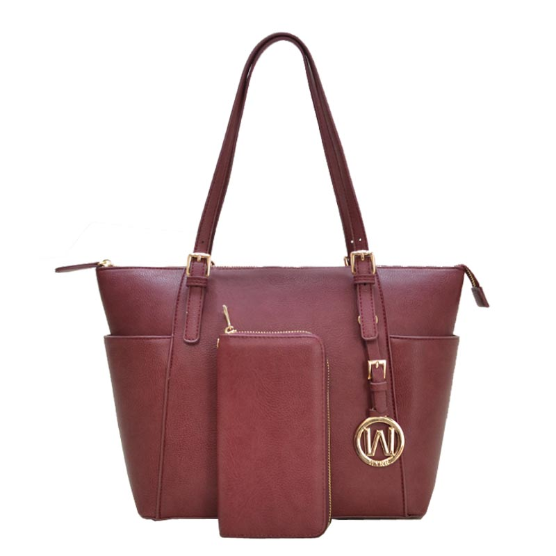 2 in 1 Fashion Bag with Wallet Burgundy
