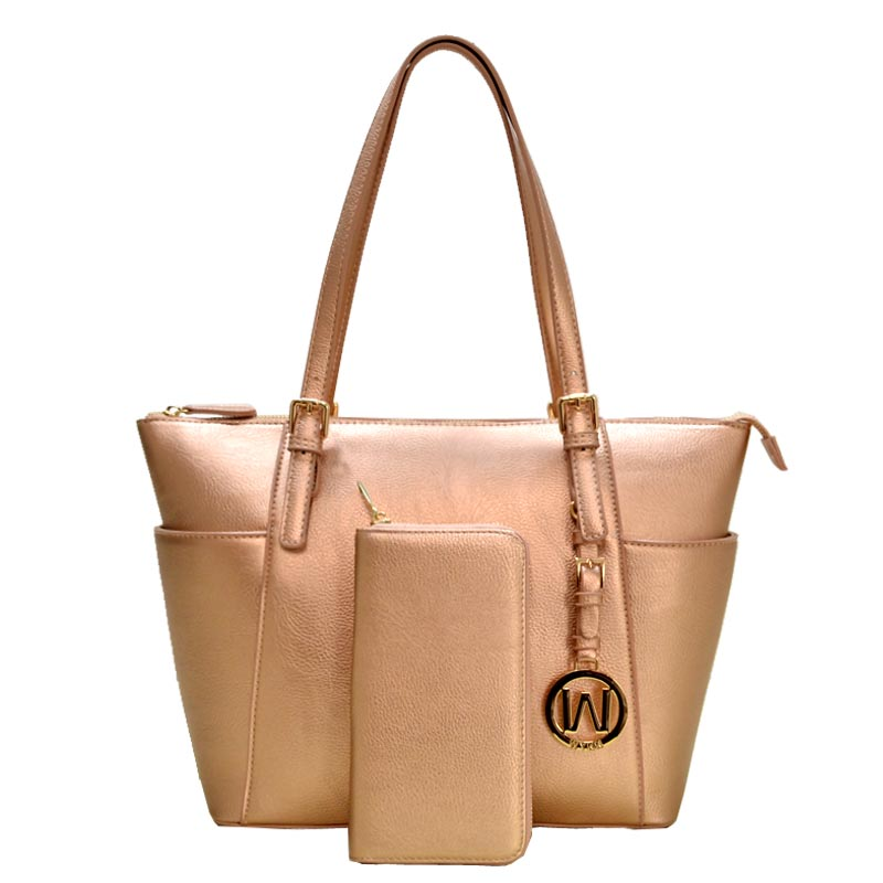 2 in 1 Fashion Bag with Wallet Rose Gold